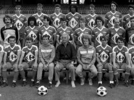 Robert Herbin pose pour la photo d'équipe de l'OL en 1983. Photo Progrès /Archives LE PROGRES